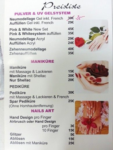 Preisliste, Nails Art, Maniküre Kosten